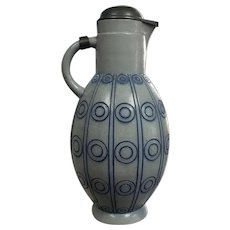 1907-1910 German Art Nouveau Gerz Salt Glaze Stoneware Lidded Jug Deigned by Franz Helmuth Ehmcke