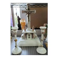 Circa 1870 French Marble Crucifix and Candlesticks Altar Set