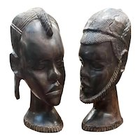 Pair of Mid 20th Century Massai Man and Woman Ironwood Busts Made in Tanzania
