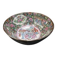 Mid 20th Century Chinese Rose Medallion Porcelain Punch Bowl with Imperial Court, Floral, and Butterfly Motifs