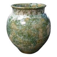 Mid 20th Century Japanese Kasama Ware Pottery Green/Tan Lava Glaze Vase