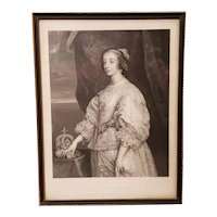 Mid 19th Century English Queen Henrietta Maria (Queen of Charles I) Portrait Engraving by F. Joubert