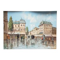Italian Town Square Oil Painting on Canvas Board by Alfred Torricini (Circa 2nd Quarter 20th Century)