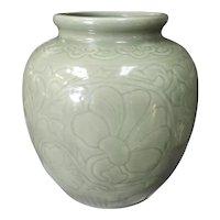 Circa 1890 Chinese Celadon-Glazed Porcelain Lotus Jar