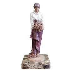 Vintage Elisa Montserrat Woman Limited Edition Composite Sculpture on Marble Base Made in Spain