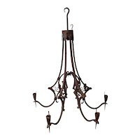 Circa 1760 French Gothic Revival Wrought Iron Six-Arm Hanging Candelabra