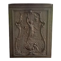 Late 19th Century French Neoclassical Style Cast Iron Prometheus Motif Fireplace Summer Cover