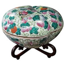 Mid 20th Century Chinese Famille Rose Canton Porcelain Peach Form Presentation Box on Wood Stand