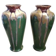 Pair of Circa 1930 French Art Deco Drip Glaze Ceramic Vases