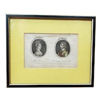 1778 English Cameo Portrait Engraving of Mrs. P_t and The Cautious Commander by T. Walker