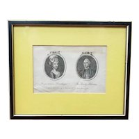 1778 English Cameo Portrait Engraving of The Persuasive Housekeeper and The Hearty Alderman by T. Walker