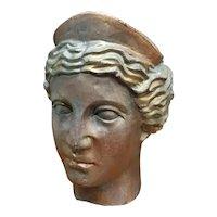 Circa 1900 French Art Nouveau Gilded Bronze Greek Goddess Athena Head Bust