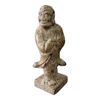 Early 20th Century Chinese Buddhist Monk Soapstone Figural Chop Seal