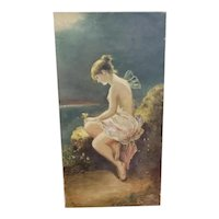 """Circa 1870 After Wilhelm Kray """"Psyche"""" Oil Painting (Germany)"""