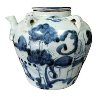 Early 19th Century Chinese Blue and White Soft Paste Porcelain Kendi (Wax Seal)