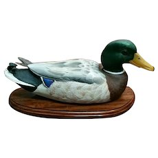 Hand Carved Wooden Mallard Duck Decoy by Robert Friday (Angola Prison Inmate) (Louisiana)