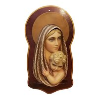 Mid 20th Century Italian Ceramic Virgin Mary and Baby Jesus Raised Relief Plaque Mounted on Wood