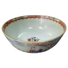 Mid to Late 16th Century Chinese Rose Mandarin Porcelain Punch Bowl