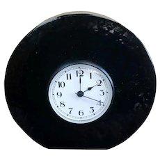 Mitchell Gaudet Art Glass Black Mantel Clock Sculpture (New Orleans)