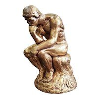 """Mid 20th Century After Auguste Rodin """"The Thinker"""" Gold Chalkware Sculpture"""