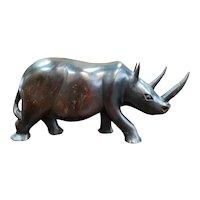 Mid 20th Century Kenyan Iron Wood Rhinoceros Statue