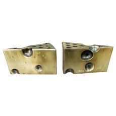Pair of Mid Century Hollywood Regency Brass Alloy Cheese Wedge Pencil Holder Bookends