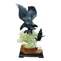 Circa 1st to 2nd Quarter 20th Century Chinese Hawks on Tree Soapstone Carving