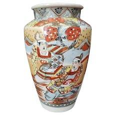 Early 20th Century Japanese Satsuma Porcelain Bugaku Dancer Motifs Vase