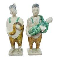 Pair of Circa 700 A.D. Chinese Sancai Glazed Terracotta Mingqi