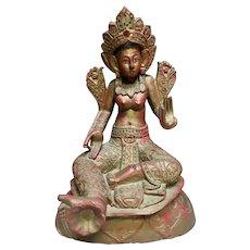 Circa Late 18th/Early 19th Century Tibetan Gilt Lacquered Wood Tara Statue