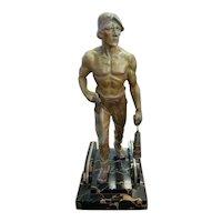 Circa 1930 Eastern European Art Deco Coal Miner Spelter Sculpture on Marble Base