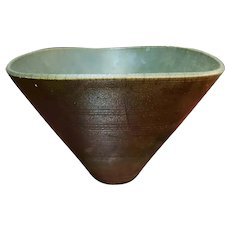 Vintage Shadyside Pottery Green Raku Centerpiece Bowl Made in New Orleans