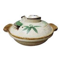 Mid 20th Century Japanese Studio Pottery Stoneware Covered Rice Bowl
