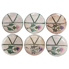 Set of 6 1960's French Fat Lava Floral Motif Plates