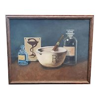 1973 Pharmaceutical Themed Oil Painting by Genevieve Liljeberg (New Orleans)