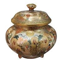 Circa 1880 Japanese Satsuma Porcelain Shimazu Clan Gilded Arhats Motif Koro Incense Censer
