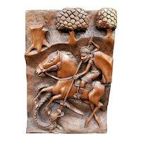 Mid 20th Century North African Wood Carving of Berber Man on Horseback Hunting Crocodile