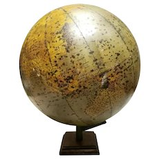 1920-1922 Rand-McNally 16 Inch Simplified and Indexed Physical Political Globe with Eagle Finial and Cast Iron/Wood Base