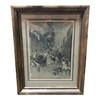 """Late 19th Century """"Napoleon's Escape After the Battle of Leipzig, 1813"""" Print by Louis Braun"""