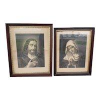 Pair of Circa 1870 Jesus Christ & Virgin Mary Framed Etchings by Fishel, Adler, &. Co. (New York)