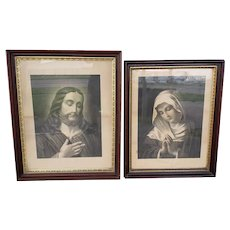 Pair of Circa 1870 Jesus Christ & Virgin Mary Framed Etchings by Fishel, Adler, &. Co. (New York)