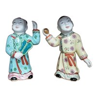 Pair of Circa 1890 Chinese Famille Rose Porcelain Ho Ho Boy Figures