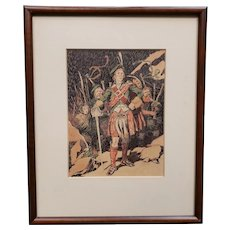Vintage Circa 1950 Scottish Highlander Framed Print