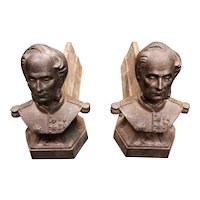 Pair of Circa 1900 French Cast Iron Military Leader Figural Chenets (Firedogs)