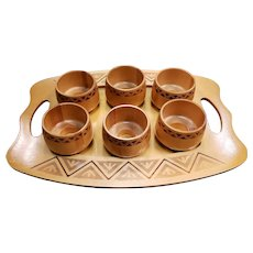 Vintage Wooden Podstakannik Set with Tray Made in Belarus