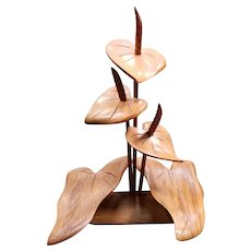 Mid 20th Century Hawaiian Monkey Pod Wood Cattail Lilies Sculpture