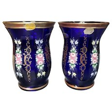 Pair of Mid 20th Century Czech Bohemia Cobalt Glass Gilded Hand Painted Floral Motif Faceted Vases
