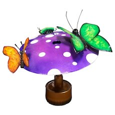 Steampunk Butterflies and Caterpillar on Mushroom Metal Sculpture