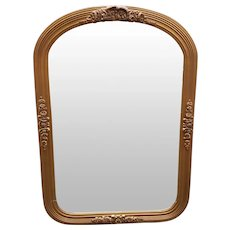 Circa 1940 French Louis XVI Style Gilded Wood Bow/Floral Frame Arched Pier Mirror