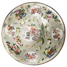 1862-1873 Chinese Famille Rose Enameled Celadon-Glazed Porcelain 100 Boys Motif Silver Rim Shallow Bowl (Tongzhi Period)